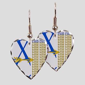 XC Run Blue Gold Earring Heart Charm