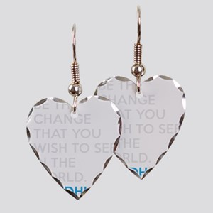 Ghandi Be The Change Quote Earring Heart Charm