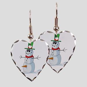 Snowman Earring Heart Charm