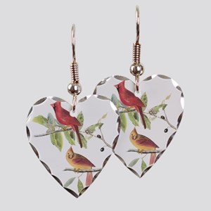 Northern Cardinal Earring Heart Charm
