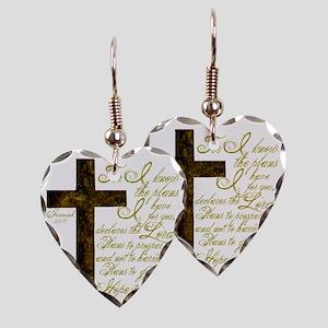 Plan of God Jeremiah 29:11 Earring Heart Charm