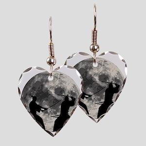Samurai Moon Earring Heart Charm