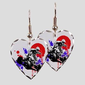 Red Splatter ATV Earring Heart Charm