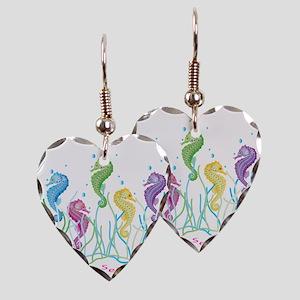 Dancing Seahorses Design Earring Heart Charm