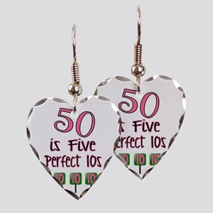 50 is Five Perfect TENS Earring Heart Charm