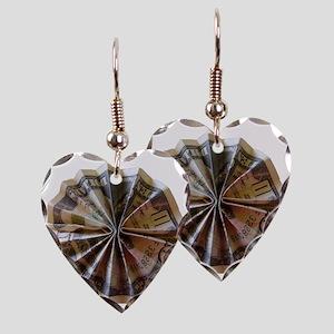 Money Origami Rosette Earring Heart Charm
