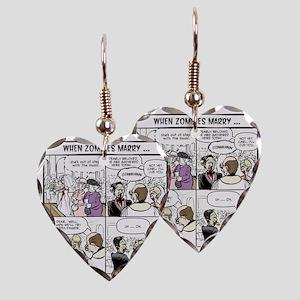 Zombie Wedding Earring Heart Charm