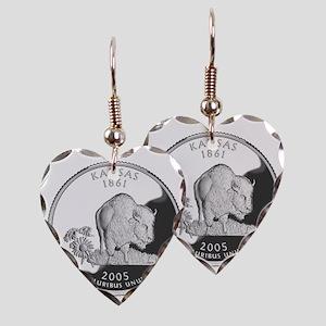 kansas-black Earring Heart Charm