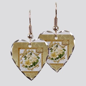 Floral Gold  50th Wedding Anni Earring Heart Charm