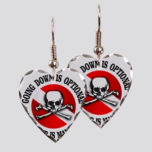 Going Down Is Optional Earring Heart Charm