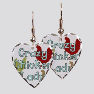 Crazy Chicken Lady Earring Heart Charm