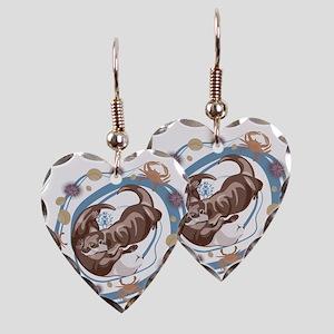 Sleepy Otters Earring Heart Charm