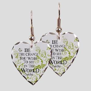 Be the Change - Green - Light Earring Heart Charm