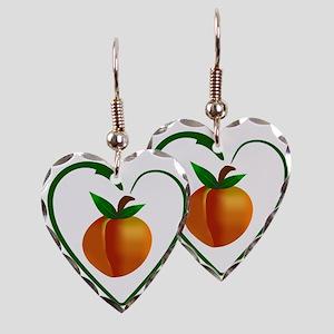 Peach and heart design Earring Heart Charm