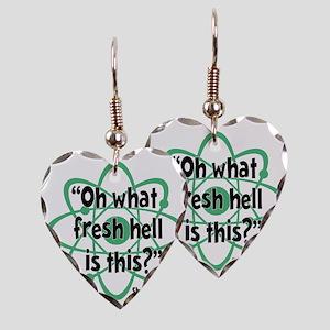 green, Fresh Hell, atom Earring Heart Charm