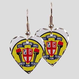 uss john king patch transparen Earring Heart Charm