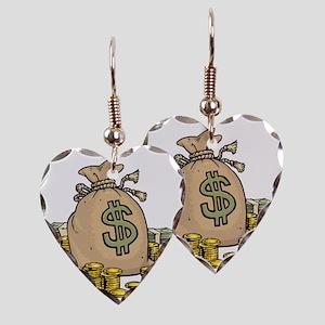 Money Bags Earring Heart Charm