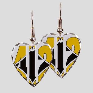 412 Gold/Black-W Earring Heart Charm