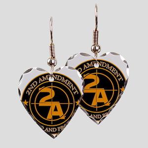 2ND Amendment 3 Earring Heart Charm