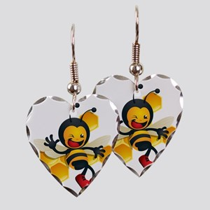 cute baby honey bumble bee bug Earring Heart Charm