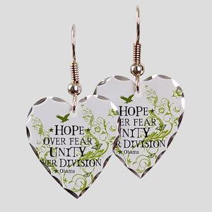 obama_vine_hope_division_white Earring Heart Charm