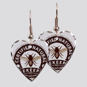 Certified Natural Beekeeper Earring Heart Charm