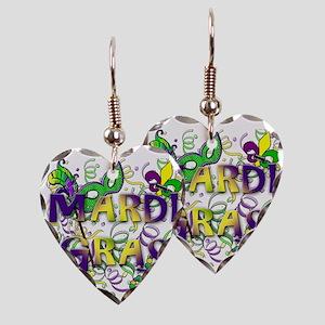 MARDI GRAS Earring Heart Charm