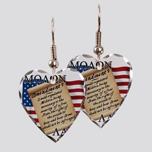 Second Amendment 2 Dark Earring Heart Charm