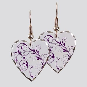 Purple Scroll - White Font Earring Heart Charm