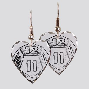 12 sided die dark Earring Heart Charm