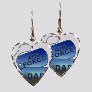 Air Force Dad Dog Tags Earring Heart Charm