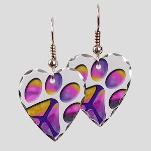 Peaceful Paw Print Earring Heart Charm