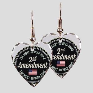 Second Amendment Earring Heart Charm