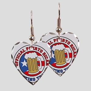 Puerto Rican Drinking Team Earring Heart Charm