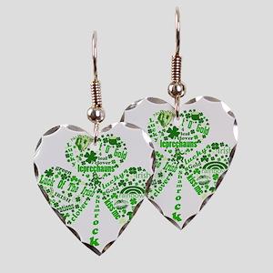 Irish Shamrock Earring Heart Charm