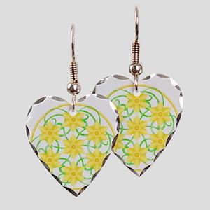 Daffodils Mandala Earring Heart Charm