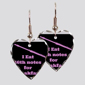Flute I eat 16th notes for Bre Earring Heart Charm