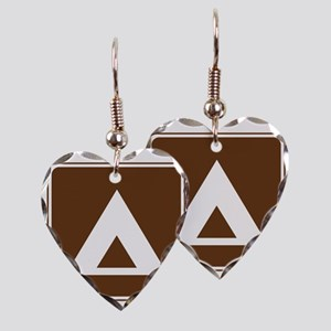 brown_camping_tent_sign_real Earring Heart Charm