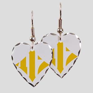 412 White/Gold-W Earring Heart Charm