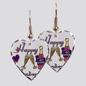 Anniversary pink and purple 40 Earring Heart Charm