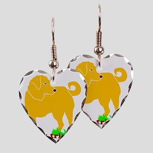 I Love My Tripawd Golden - Fro Earring Heart Charm
