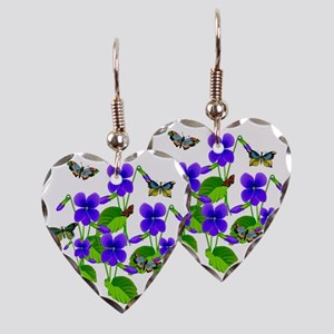 Violets and Butterflies Earring Heart Charm