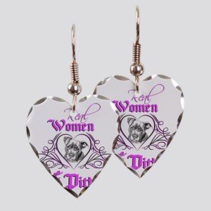 Real Women Love Pitbulls Earring Heart Charm