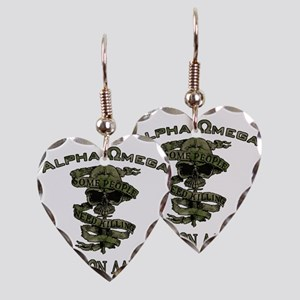 Alpha Omega Earring Heart Charm