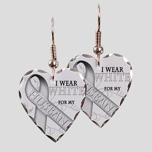I Wear White for my Husband Earring Heart Charm