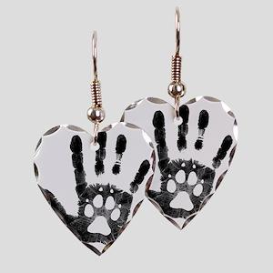 Lobo Paw Print Earring Heart Charm
