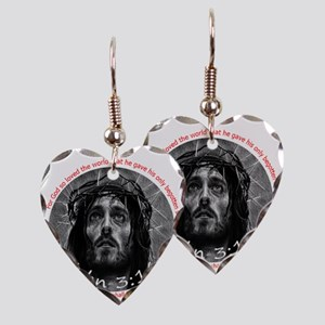 John 3:16 Crown of Thorns 6x6 Earring Heart Charm