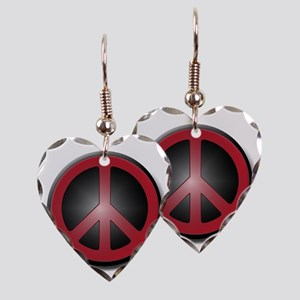 Glowing Red Peace Symbol Earring Heart Charm