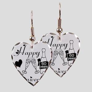Anniversary black and white 60 Earring Heart Charm