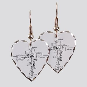 Christian cross word collage Earring Heart Charm